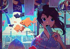 Everything about summer crammed into one illustration. Goldfish, ice pops, a colorful yukata, cumulonimbus clouds, blue skies, wind chimes, summer breeze... #notmyart https://goo.gl/mihsvx