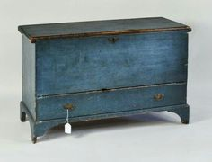American Blue Painted Lift Top Blanket Chest : Lot 171 | Antiques ...