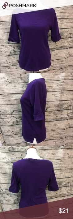 Ralph Lauren Deep Purple Boat Neck Tee Sz M Deep Purple Boat Neck Tee by Lauren Ralph Lauren. Each sleeve features a fold up cuff sewn in place. Wide Boat Neck collar shows off your collarbones. Soft thicker tee construction with a little stretch. This wears well with anything! I have another color, be sure to see my other listings! Lauren Ralph Lauren Tops Tees - Short Sleeve