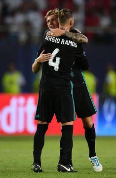 Toni Kroos of Real Madrid and Sergio Ramos of Real Madrid celebrate...