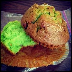 ALMOND PISTACHIO MUFFINS * 2 ways: from scratch & using cake mix ** GREEN batter (Christmas or St. Patrick's Day)