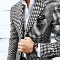 Mens Checkered Suit Houndstooth Custom Made Men Dress Suits,Tailored Casual Men Suits Duotone Weave Hounds Tooth Check,Dogstooth(Jacket+Pants+Tie+Pocket Square) Dress Suits For Men, Mens Suits, Men Dress, Suit Men, Der Gentleman, Gentleman Style, Fashion Night, Suit Fashion, Mens Fashion