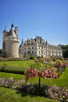 Chateau de Chenonceau, Loire, France. One of the most beautiful places I've seen. Hard to see, but the castle is actually built over the river.