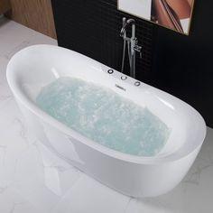 WoodBridge x Freestanding Bathtub Whirlpool Water Jetted and Air Bubb.