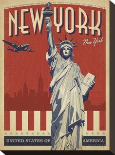 New York, NY (Statue of Liberty) Impressão em tela esticada