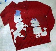 50s Knit O Graf 206 Knitting PATTERN Poodles Cardigan Slipover Sweater Girls Boy #KnitOGraf206