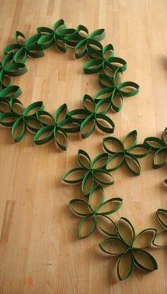 diy deko papier kränze grün