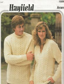 Vintage Unisex Crew and V-Neck Aran Sweaters Aran Sweaters, Celtic, V Neck, Unisex, Knitting, Vintage, Fashion, Tejidos, Moda
