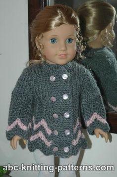 free knitting pattern for American Girl doll by Gina Reynecke