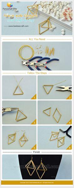 #Beebeecraft shows u how to make #Geometric metal #dangleearrings