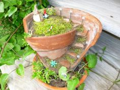 Broken Clay Pot Fairy Garden | Cracked Pot Fairy Garden | The Great Outside