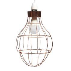Wilko Copper Bulb Cage Pendant