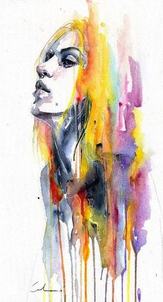 Sunshower Fine Art Print by Agnes Cecile. Authentic giclee print artwork on paper or canvas. Wall Art purchases directly support the artist. Kunst Inspo, Art Inspo, Art And Illustration, Watercolor Portraits, Watercolor Art, Watercolour Hair, Abstract Portrait Painting, Watercolor Landscape, Abstract Paintings