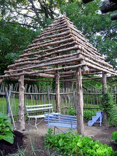 for somewhere in the meadow....rustic gazebo / stick fence