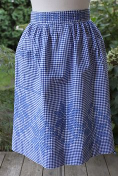 Blue and White Gingham Check Apron with chicken scratch embroidery