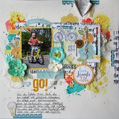 Saras pysselblogg - Sara Kronqvist: 123 go! scrapbook layout with lots of layers, die-cuts and some mixed media touches on the background