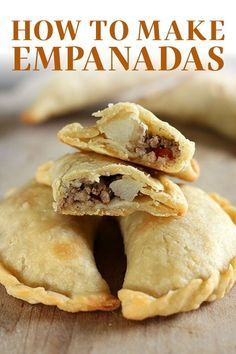 How to Make Empanadas with an easy homemade dough and customizable filling. These crowd-pleasers can be made ahead of time and are baked instead of fried! This recipe includes a beef filling, but I also share how to make sweet empanadas! Mexican Dishes, Mexican Food Recipes, Beef Recipes, Cooking Recipes, Recipies, Mexican Meat, Johnny Cake, Quesadillas, Tostadas