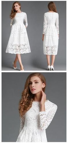 2016 Fashion -  White Lace Dress with Long Sleeve