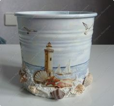 painted bucket with seashells - decoupage