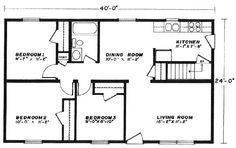 3br 2 bath 24x40 home perfect for arch cabin a girl can for Reliant homes floor plans