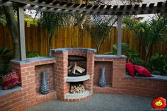 Fire pit and braai combo. Fire Pit Landscaping, Garden Landscaping, Outdoor Fire, Outdoor Living, Outside Pool, Diy Fire Pit, Garden Landscape Design, Garden Photos, Garden Projects