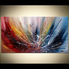 "Abstract Painting, 72"", Blue, Red, cold and warm effect, Thick Layers of Oil…"