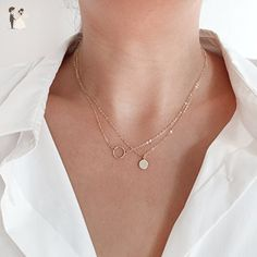 14K Gold Circle Necklace - Wedding nacklaces (*Amazon Partner-Link)