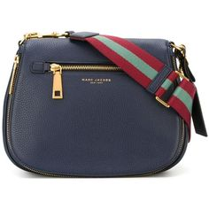 Midnight blue leather 'Gotham' saddle crossbody bag from Marc Jacobs featuring a pebbled leather texture, a front centre logo stamp, a front zip pocket, gold-…