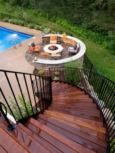 Great mixture of materials, and a great way to transition from a high deck to the lower yard.