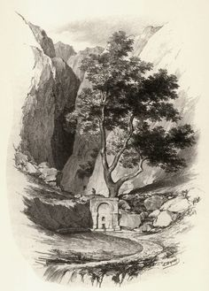 The Castalian Fountain, by Louis Dupré. Monuments, Outdoor Cafe, Southern Italy, Ottoman Empire, Athens, Fountain, Greece, Illustration, Artwork