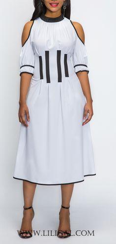 Contrast Binding Half Sleeve Cold Shoulder Dress   #liligal #dresses #womenswear #womensfashion