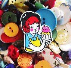 Cupcake Baker Shrink Plastic Brooch by Rose Hudson