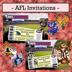 Print Your Own Invitations - AFL Footy - All Teams (Carlton, Essendon, etc)