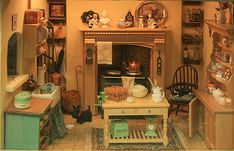 An English country kitchen room box. Room boxes: For the person who doesn't want to commit to a whole dollhouse.