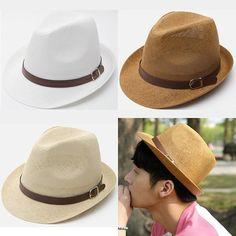 eda73eaf706 Korean Fashion Trendy Mens Vintage Straw Fedora Trilby Summer Beach Mesh Hat  003 Straw Fedora