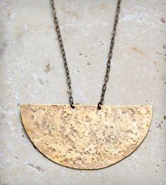 Athena Brass Pendant Necklace.