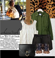 """""""Leopard, lace and military."""" by julietav ❤ liked on Polyvore"""