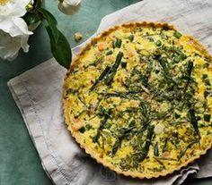 Asparagus and prawn tart.