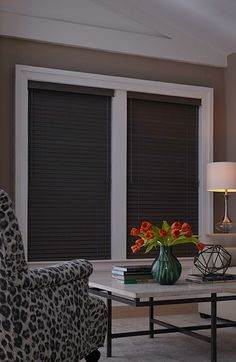 """Blinds.com 2"""" Architectural Wood Blind shown in the color Vintage Gravel with Routeless and Rounded Edge options."""