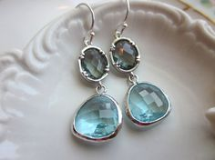Aquamarine + Gray Earrings