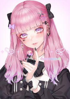 Anime Girl Pink, Dark Anime Girl, Pretty Anime Girl, Manga Anime Girl, Anime Girl Drawings, Beautiful Anime Girl, Anime Neko, Kawaii Anime Girl, Anime Girls