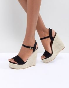 62ef87fb976 Glamorous Black Espadrille Wedge Sandals