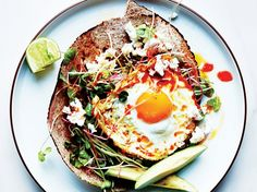 Chile and Olive Oil Fried Egg With Avocado and Sprouts