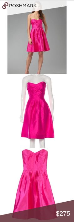 Diane von furstenberg Bowenia silk pink strapless Diane von Furstenberg hot pink silk bowenia cocktail dress. SO FLATTERING!!!! This will sell fast! Act now! Worn once. No signs of wear. Been dry cleaned after worn. Diane Von Furstenberg Dresses Strapless