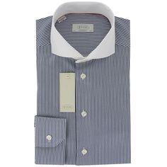 New 2015 Eton Navy Blue Stripe White Collar Shirt - Contemporary Fit