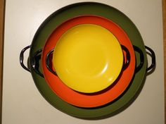 Retro Enamelware Serving Dishes by NotOverItVintage on Etsy, $36.99