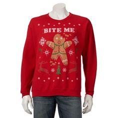 Bite Me Gingerbread Man Christmas Sweater - Men