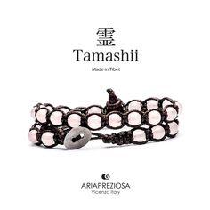 Tamashii - Bracciale Lungo Tradizionale Tibetano 2 giri Quarzo Rosa