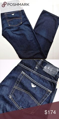 """Armani Jeans regular fit style J31 Armani Jeans men's collection  new with tags, 100% authentic    5 pocket styling, in a regular fitting  high rise regular leg, style name J31  dark in color with some fading affect  contrast stitching with eagle logo on back pocket  leather patch on waist  leg opening at the hem 8 1/2"""" Armani Jeans Jeans"""