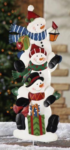 Christmas Holiday 3 Metal Snowmen Stacked with Presents Outdoor Garden Stake